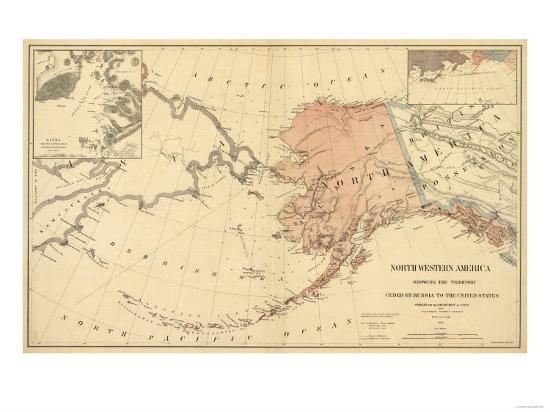 Alaska - Panoramic State Map-Lantern Press-Art Print