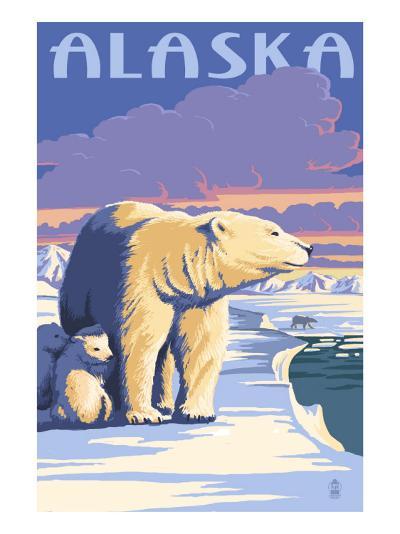Alaska - Polar Bear at Sunrise-Lantern Press-Art Print