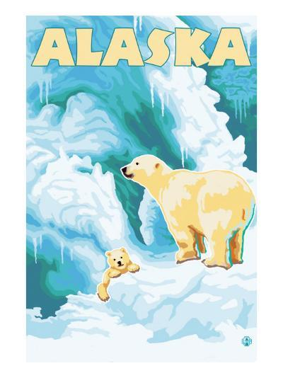 Alaska Polar Bears on Iceberg-Lantern Press-Art Print