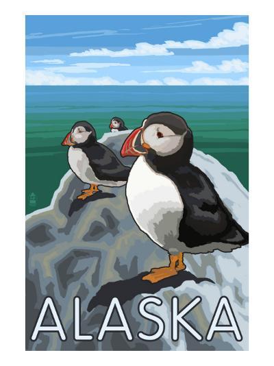 Alaska - Puffins on Rock-Lantern Press-Art Print
