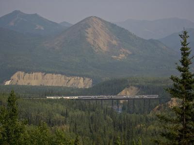 Alaska Railroad on a Tall Trestle Bridge-Michael Melford-Photographic Print