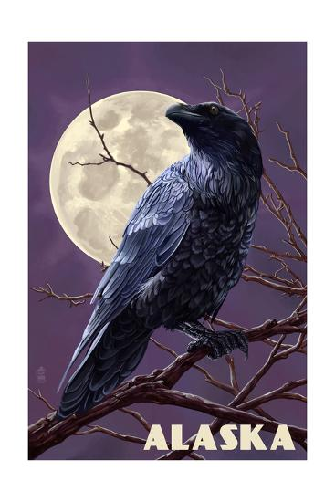 Alaska - Raven and Moon Purple Sky-Lantern Press-Art Print