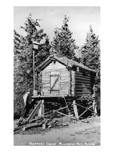 Alaska - Richardson Hwy; A Trapper's Cache-Lantern Press-Art Print