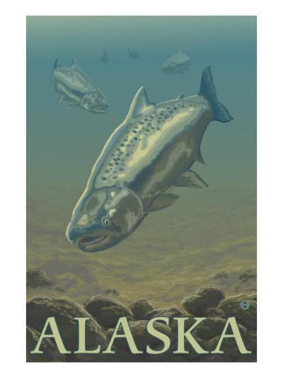 Alaska, Salmon View-Lantern Press-Art Print