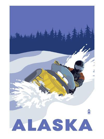 Alaska, Snowmobile Scene-Lantern Press-Art Print