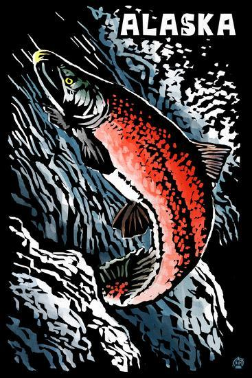 Alaska - Sockeye Salmon - Scratchboard-Lantern Press-Wall Mural