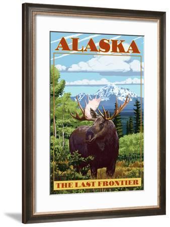 Alaska, the Last Frontier - Moose-Lantern Press-Framed Art Print