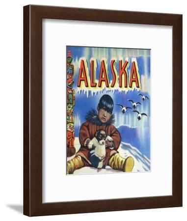 Alaska, View of a Native Child Holding a Puppy, Totem Pole and Penguins-Lantern Press-Framed Art Print