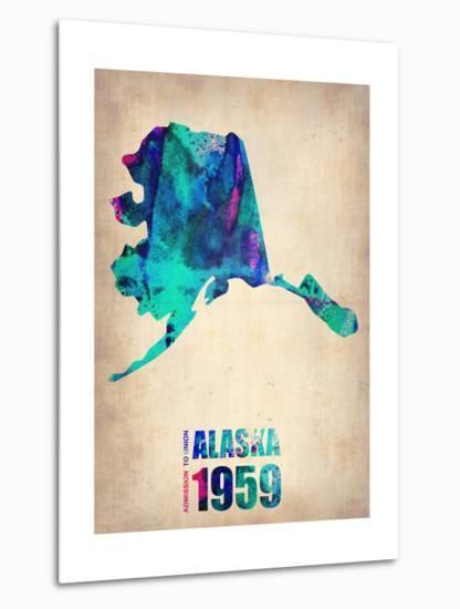 Alaska Watercolor Map-NaxArt-Metal Print