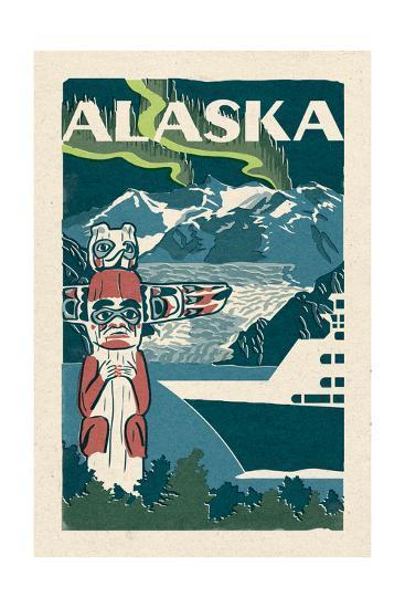 Alaska - Woodblock-Lantern Press-Art Print