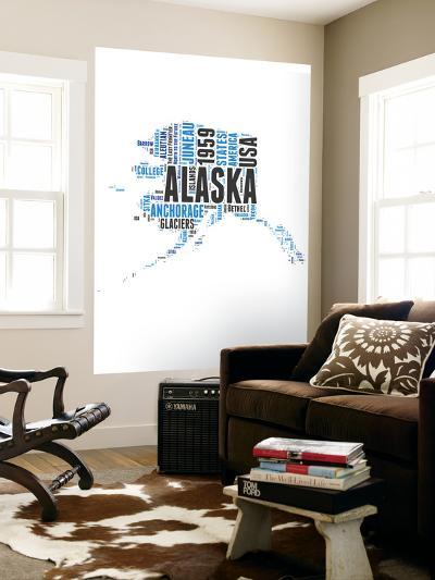 Alaska Word Cloud Map-NaxArt-Wall Mural