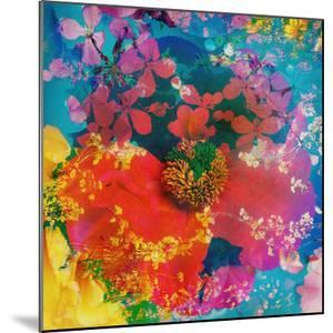 A Dreamy Floral Montage, Layer Work from Poeny Blossoms Blossoms in Blue Tones by Alaya Gadeh