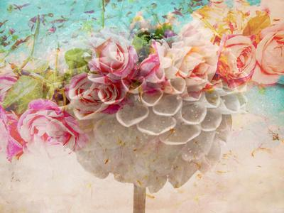 A Dreamy Romantic Floral Montage of a Pon Pon Dahlia with Roses, Photography, Many Layer Work