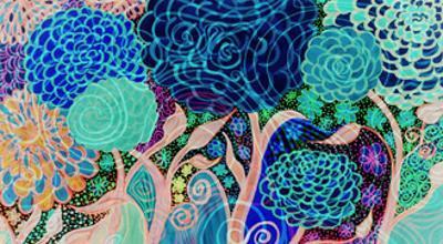 Flowers V Twirly Blue I