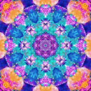 Mandala Ornament from Flower Photographs, Conceptual Symmetric Layer Work in Square Format by Alaya Gadeh