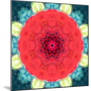 Mandala Ornament from Red Blooming Flowers, Conceptual Photographic Layer Work by Alaya Gadeh
