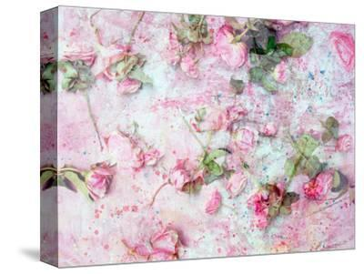 Montage of Pink Roses on a Painted Background