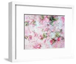 Montage of Pink Roses on a Painted Background by Alaya Gadeh