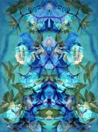 Orchid Rose Ornament Blue