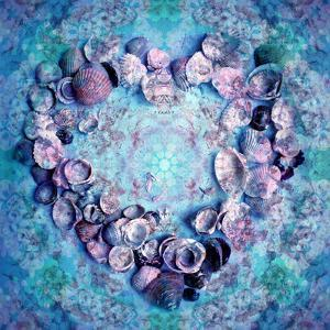 Photographic Layer Work of a Heart from Seashells and Floral Ornaments in Blue Lavender Tones by Alaya Gadeh