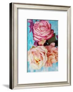 Roses on Light Blue Textured Background by Alaya Gadeh
