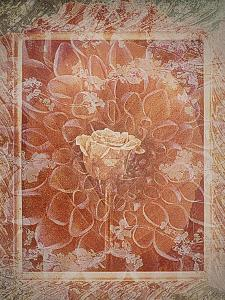 Single Rose in Earthy Colors Vintage Style in Frame, Photographic Layer Work by Alaya Gadeh