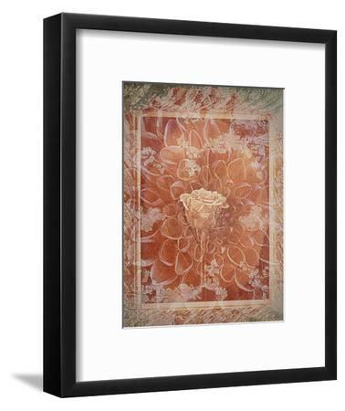 Single Rose in Earthy Colors Vintage Style in Frame, Photographic Layer Work