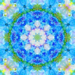 Symmetric Ornament Mandala from Flowers in Blue and Green Tones by Alaya Gadeh