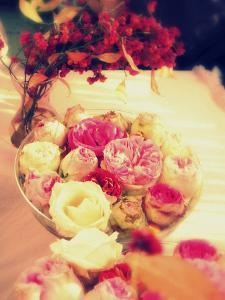 Table Decoration, Rose Blossoms in a Bowl, Vase, Branches by Alaya Gadeh
