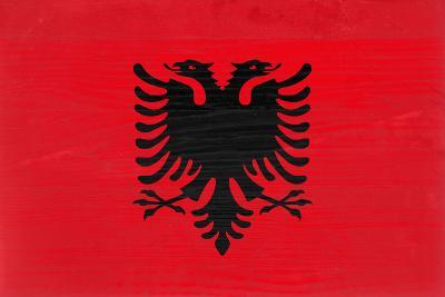 Albania Flag Design with Wood Patterning - Flags of the World Series-Philippe Hugonnard-Art Print