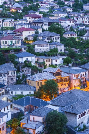Albania, Gjirokastra, Elevated View of Ottoman-Era Houses, Dawn-Walter Bibikow-Photographic Print