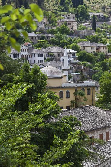 Albania, Gjirokastra, Elevated View of Ottoman Houses-Walter Bibikow-Photographic Print