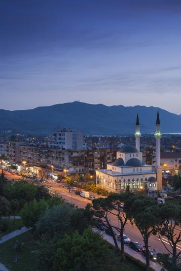 Albania, Shkodra, Elevated View of Zogu 1 Boulevard and Mosque, Dusk-Walter Bibikow-Photographic Print