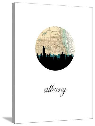Albany Map Skyline-Paperfinch 0-Stretched Canvas Print