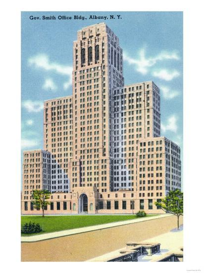 Albany, New York - Exterior View of the Gov Smith Office Building-Lantern Press-Art Print