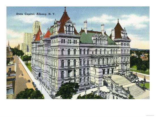 Albany, New York - Exterior View of the State Capitol Building No. 2-Lantern Press-Art Print