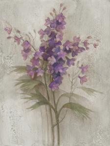 Purple Larkspur Garden on Grey by Albena Hristova