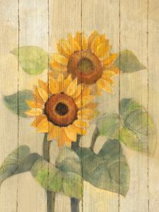 Summer Sunflowers I on Barn Board by Albena Hristova