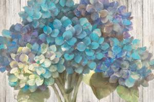 Turquoise Hydrangea on Barn Board by Albena Hristova