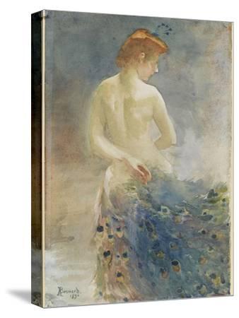 Femme nue, de dos, avec une queue de paon, la tête de profil à droite