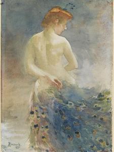 Femme nue, de dos, avec une queue de paon, la tête de profil à droite by Albert Besnard