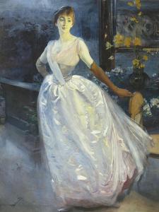 Portrait de madame Roger Jourdain, femme du peintre by Albert Besnard