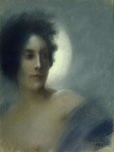 Woman with a Crescent Moon Or, the Eclipse, 1888 by Albert Besnard