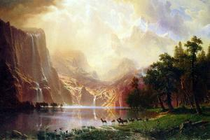 Albert Bierstadt Between the Sierra Nevada Mountains by Albert Bierstadt