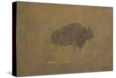 Buffalo in a Sandstorm (Oil on Paper Mounted on Board)
