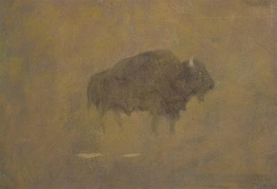 Buffalo in a Sandstorm (Oil on Paper Mounted on Board) by Albert Bierstadt