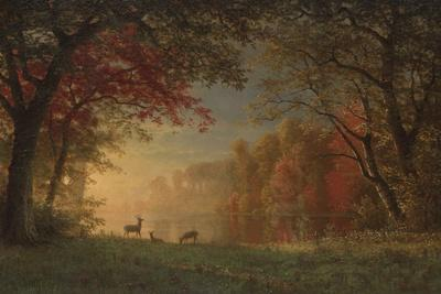 Indian Sunset: Deer by a Lake, c.1880-90