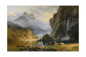 Indians Spearfishing by Albert Bierstadt