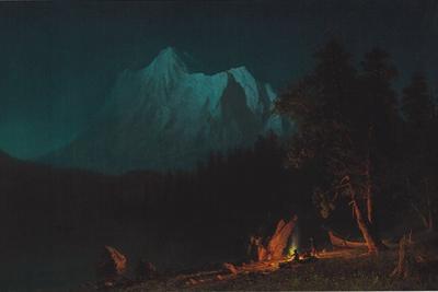 Mountainous Landscape by Moonlight by Albert Bierstadt