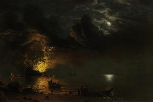 The Burning Ship, 1869 by Albert Bierstadt